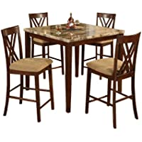 Home Source Industries 11907 Espresso Marble Counter Height Dining Table with 4 Chairs, Brown