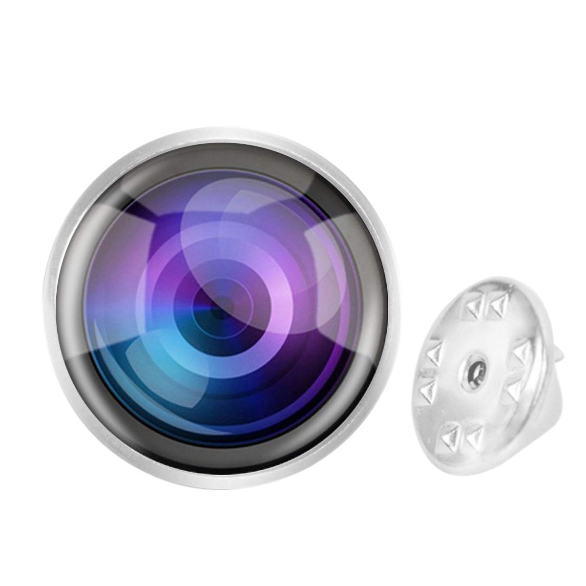 WAZZIT Round Metal Tie Tack Hat Lapel Pin Brooches Camera Lens Photo Banquet Badge Enamel Pins Trendy Accessory Jacket T-Shirt
