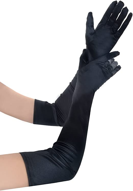 Womens Long White Opera Gloves Elbow Length Flapper Adult Costume No-Itch NEW