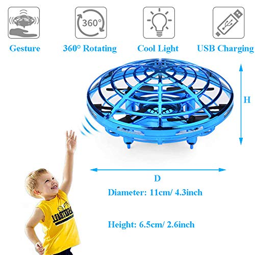 Egoelife Flying Ball Toys Drones, Hand-Controlled Drone Quadcopter Flying Toys for Boys or Girls - Scoot Flying Ball Drone Hands Free Drone Flying Toys for Kids or Adults (Golden) by Egoelife (Image #1)