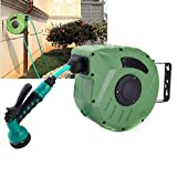 zinnor Retractable Auto Hose Reel 10m Wall Mount Automatic Water Garden Drum for Car Wash Watering Green