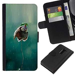 Planetar® Modelo colorido cuero carpeta tirón caso cubierta piel Holster Funda protección LG G2 D800 ( Owl Cute Funny Rain Nature Bird Flying )