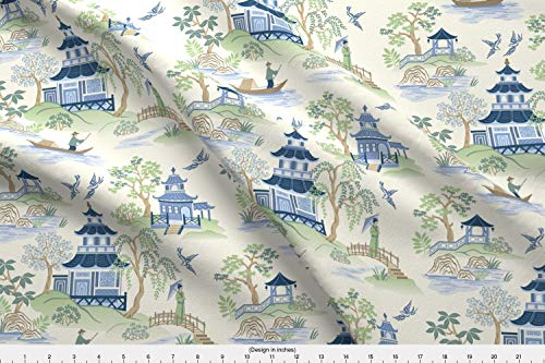 Spoonflower Chinoiserie Fabric - Chinoiserie Pagoda Landscape Tea House Kimono Fisherman Willow Tree - by Barbarapixton Printed on Organic Cotton Knit Ultra Fabric by The Yard ()