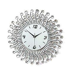 JYPYH 3D Wall Clock Diamonds Novelty Wall Clock Beautiful Bling Silence Round Design Quartz Iron Metal Wall Clock for Home Wall Decoration,White