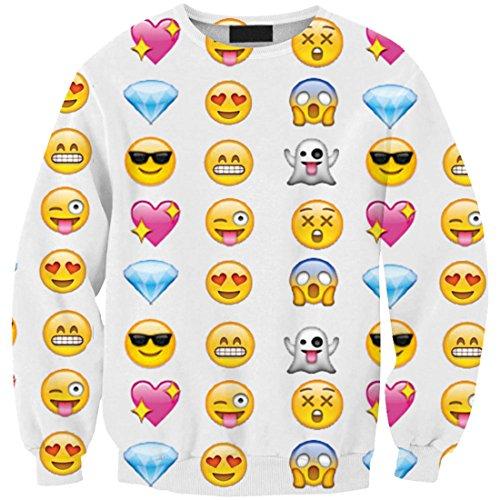 YICHUN mujeres niñas Tops camiseta Pullovers Thin Sudaderas Sudadera Blusa Emoji 1#