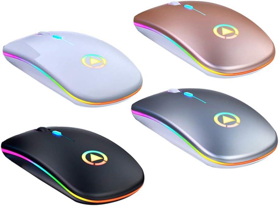 Canghai Rousa Souris de jeu sans fil USB rechargeable LED rétroéclairé 7 couleurs Optique Ergonomique Gaming Souris sans fil Noir