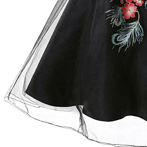 YTJH con Elegante Ricami Nero Vestito Floreali Maniche Senza da Vintage Vestiti Donne Sera Cerimonia Abito Trasparente 1950S Girocollo ZzArwYZq