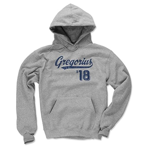 500 LEVEL's Didi Gregorius Winter Hoodie M Gray - Didi Gregorius Script B - New York Baseball Fan Gear Officially Licensed by the MLB Players Association