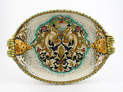 Handpainted Italian Ceramic 19-inch Centerpiece by A. Binaglia, Deruta by Alvaro Binaglia