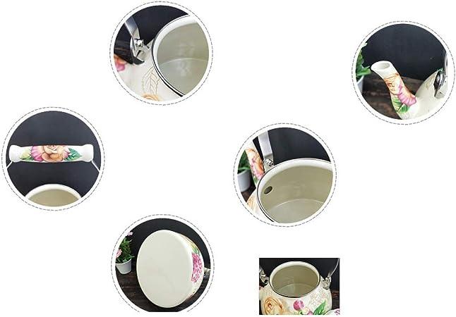 Hervidor P/ágina de inicio Hervidor de agua de porcelana de gran capacidad 4L Esmalte hervidor de cocina de inducci/ón de Gas General Cafetera Tetera