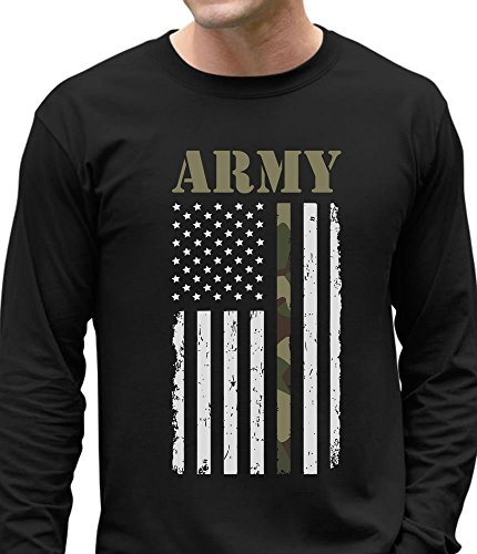 Big U.SA Army Flag - Gift for Soldiers, Veterans Military Long Sleeve T-Shirt X-Large Black