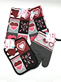 #4: Valentines Cotton Kitchen Towels and Oven Set: 2 Towels, 1 Pot Holder, 1 Oven Mitt (Modern Patch)