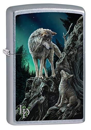 (Zippo Lighter: Lisa Parker Wolf with Cub - Street Chrome 80088)