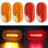 Partsam 4x LED Front Rear Side Marker Light Indicator for Boats Truck Trailer Amber & Red