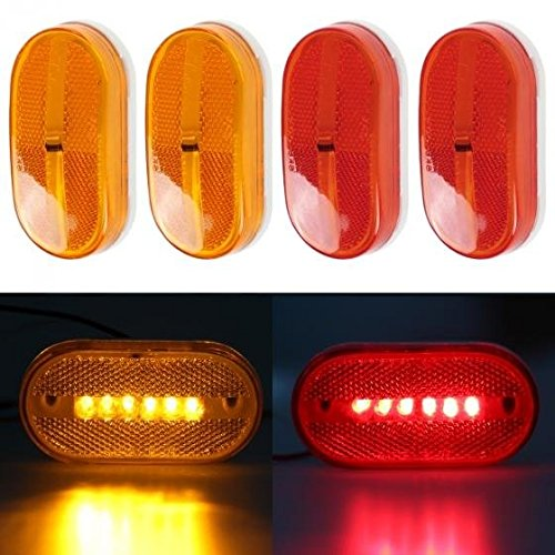 Partsam 4x LED Front Rear Side Marker Light Indicator for Boats Truck Trailer Amber & Red