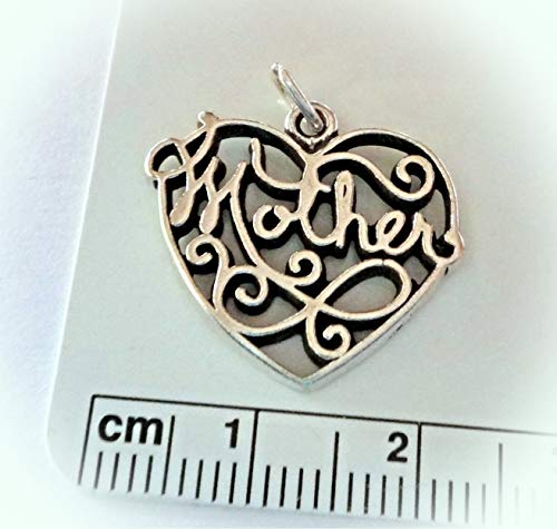 Sterling Silver 20x22mm Large Cut Out Heart says Mother Charm Vintage Crafting Pendant Jewelry Making Supplies - DIY for Necklace Bracelet Accessories by CharmingSS