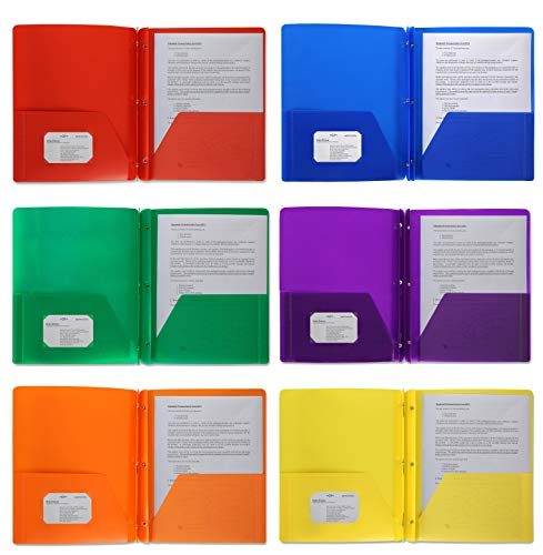 Plastic Pocket Folders, Colored Heavy Duty Durable Poly, 2 Pocket Folder, 3 Prong Fasteners, with Business Card Slot - 11