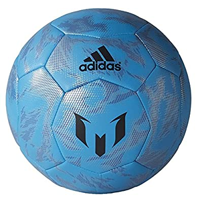 adidas Messi Football - Size 5 - Solar Blue/Phantom/Metallic Silver -