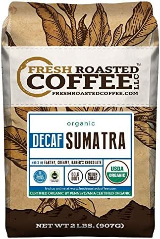 Sumatra Decaf Organic Fair Trade Coffee, Whole Bean, Mountain Water Processed Decaf Coffee, Fresh Roasted Coffee LLC. (2 lb.)