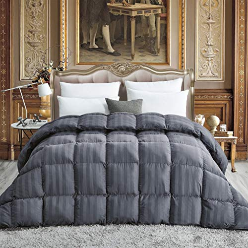 Luxurious All-Season Goose Down Comforter King Size Duvet Insert, Exquisite Gray Stripe Design, 1200 Thread Count 100% Egyptian Cotton Down Proof Fabric, 750+ Fill Power, 65 oz Fill Weight