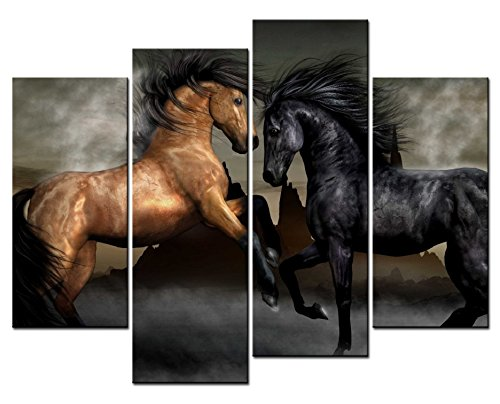SmartWallArt - Animal Paintings Wall Art two Shiny Horses Jumping 4 Panel Picture Print on Canvas for Modern Home Decoration (Jumping Photo Horse)