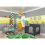 DK Leigh Nursery Crib Bedding Set, Race Car Boy, 10 Piece