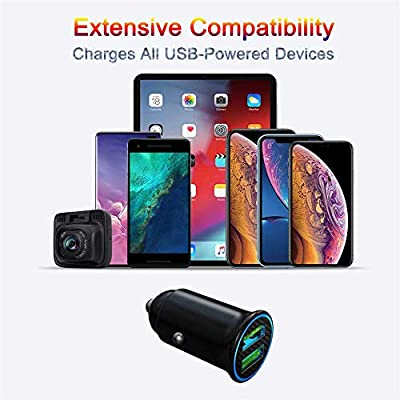 Quick Charge 3.0 Car Charger Mini 30W 4.8A Metal Dual USB Ports QC 3.0 Car Charger Adapter Flush Fit Fast Charge Car Adapter for iPhone 11/XR/Xs/Max/X/8/7, iPad Pro/Air 2/Mini, Galaxy, LG and More: Home Audio & Theater