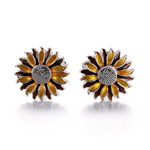 Yoursfs Sunflower Enamel Cufflinks Dark & Light Yellow Bullet Cufflinks Positive Fashion Cufflinks by Yoursfs (Image #2)