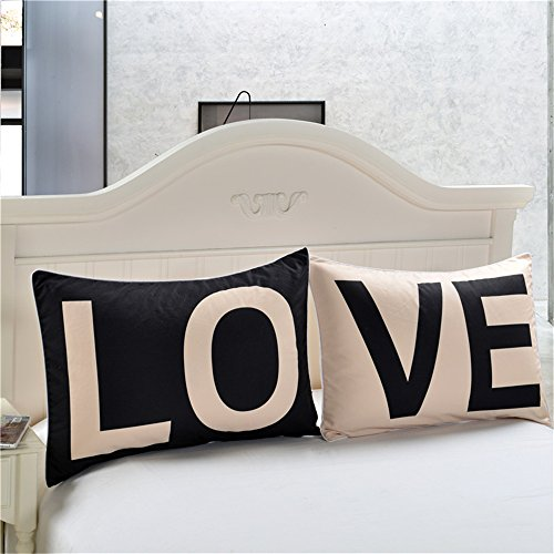 """Price comparison product image Sleepwish Couple Pillowcases LO VE Pattern Throw Pillow Case Set of 2 Sofa Cushion Cover Gift for Valentine's Day (20"""" X 30"""", LO & VE, Black and White Design)"""