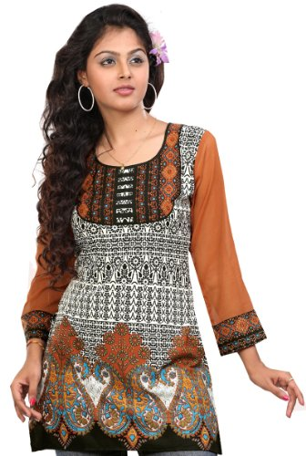 Indian Top Túnica Para Mujer Kurti Impreso Blusa India Ropa Naranja