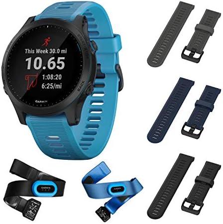 Garmin Forerunner 945 Bundle, Premium GPS Running Triathlon Smartwatch with Music Included Wearable4U 3 Straps Bundle Slate Navy Blue Black