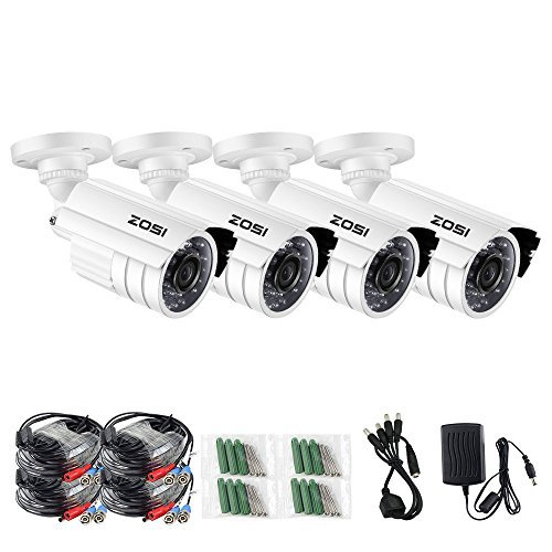ZOSI 720P HD-TVI Home Surveillance Camera System,4PCS Indoor/Outdoor Weatherproof Security CCTV Camera with Infrared and Night Vision by ZOSI
