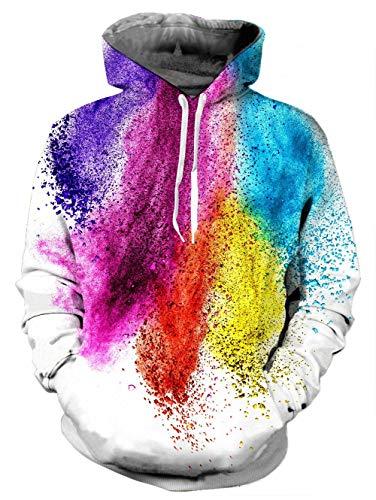 Loveternal Unisex Colorful Paint Splash Hoodies Printed Cool Pullover Hooded Sweatshirts for Womens Mens L