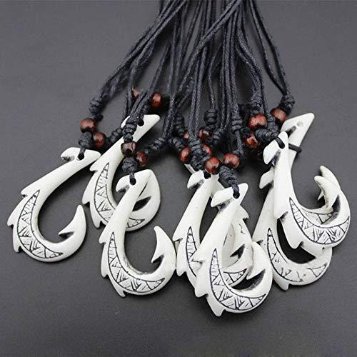 (Women Hawaiian Ethnic Jewelry White Tribal Maori Fish Hook Pendant)