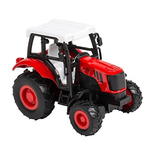 (4 Inch Die Cast Pullback Action Farm Tractor Truck - Red)