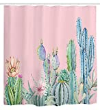 Pink and Green Shower Curtain Ihome888 Cactus Flower Cacti Waterproof Mildew Free Polyester Fabric Bathroom Shower Curtain, 72W x 72H Inch, Pink Green
