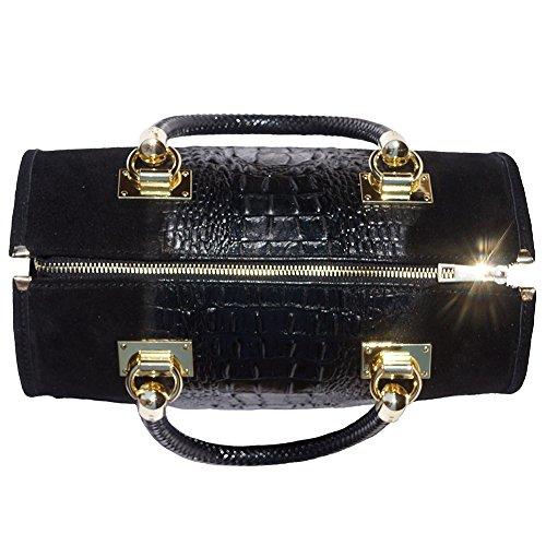 con Borse scamosciato in in gli Emma Mano pelle 7002 pelle nero oro e accessori Bauletto colore in Borsa a qHZA08Z