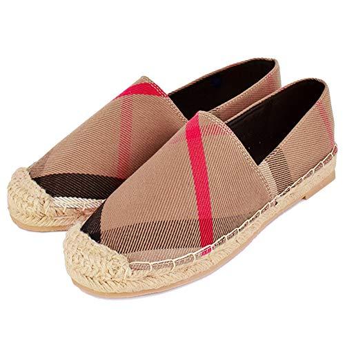 Anorson Women's Espadrilles Flats Original Slip On Loafer Shoes Classic Canvas Comfort Alpargatas (US7=EU38=24CM, Khaki)