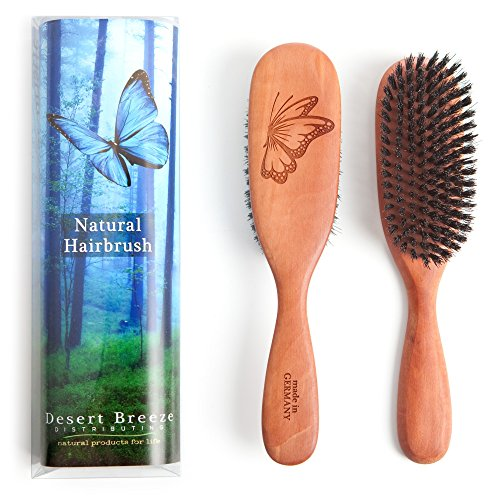 100% Pure Wild Boar Bristle Hair Brush, Model PW1, 1st Cut Natural Bristles, Best for Thin Hair, Pear Wood Handle, Made in Germany, Premium Hairbrush, by Desert Breeze Distributing ()