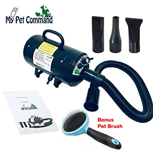 High Protection Velocity - My Pet Command 110V Dog Hair Dryer Professional High Velocity Blower 500W-2800W 4HP Hot and Cold Adjustable stepless Airflow and Bonus Dog Grooming Brush.