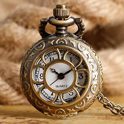 ZJZ fickur present kvinnor vintage fickur ihålig brons klocka retro hänge