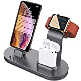 OLEBR 3 in 1 Charging Stand for iWatch Series 4/3/2/1, AirPods and iPhone Xs/X Max/XR/X/8/8Plus/7/7 Plus /6S /6S Plus/9.7 inches iPad (Original Charger & Cables Required) -Space Gray