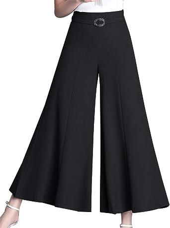 Amazon Com Lisueyne Pantalones De Loto Sueltos Para Mujer Elasticos Cintura Alta Pantalones De Vestir Pantalones Solidos Pantalones Recortados Para Mujer Clothing