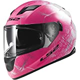 LS2 Helmets Stream Wind Full Face Motorcycle Helmet with Sunshield (White/Pink, X-Small)