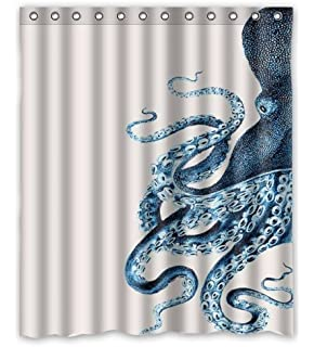 Amazon EZON CH Customize Waterproof Modern Simple Octopus Steampunk Ocean Print Polyester Fabric Bathroom Shower Curtain48IN X 72IN Home Kitchen