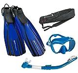 Mares Avanti Quattro Plus Fin Calypso Mask Dry Snorkel Set with Bag, Blue, Small
