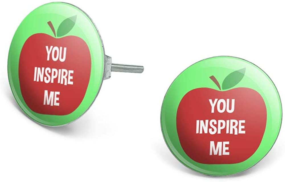 GRAPHICS & MORE You Inspire Me Teacher Apple Novelty Silver Plated Stud Earrings