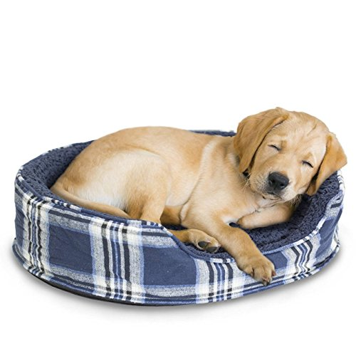 1 Piece Midnight Blue Tufted Medium 23 Inches Plaid Flannel Oval Comfort Pet Bed, Deep Blue White Nest Dog Bedding Snuggly Faux Sheepskin Fiber-filled Removable Cover Cozy Cuddler, Fleece Polyester