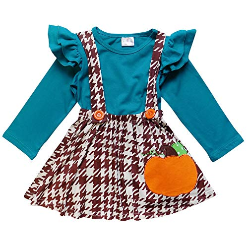 So Sydney Suspender Skirt 2 Piece Outfit, Girls Toddler Fall Winter Christmas Holiday Dress Up Boutique Outfit (XS (2T), Houndstooth Brown ()