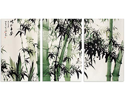 - TutuBeer 3 Panel Canvas Wall Art for Home Decor Large Chinese Painting of Bamboo Forest Nature Painting The Picture Print on Canvas Landscape The Pictures for Home Decor Decoration Gift,Ready to Hang